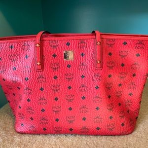 Authentic RED MCM Tote